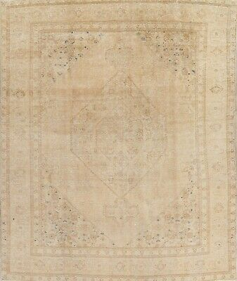 Antique 7x10 Muted Gold Persian Oriental Wool Hand-Knotted Distressed Area Rugs