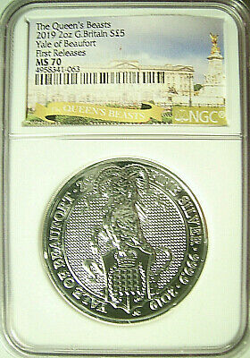 2019 Great Britain £5 Queen's Beasts YALE OF BEAUFORT 2 Oz. Silver  NGC MS 70 FR