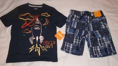 NEW Boys Size 5T Gymboree Outfit Spaced Out Shirt & Plaid Shorts 2018 Line NWT