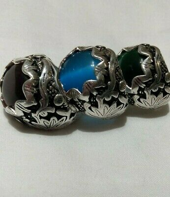 Extremely Ancient Antique Rare Vintage 3 Rings Viking Silver Artifact Quality