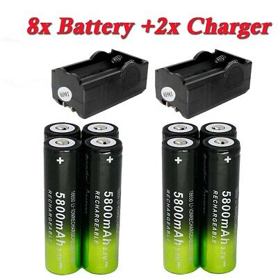 8X 18650 5800mAh 3.7V Li-on Rechargeable Battery 2X Charger For Flashlight Torch