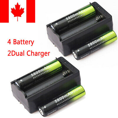 4X 18650 Batteries 3.7V Li-ion lithium 5800mAh Rechargeable Battery & 2X Charger