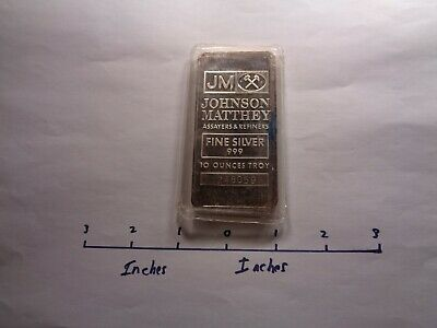 10 Oz Jm Johnson Matthey Series 999 Silver Bar Ingot Mint Sealed In Plastic