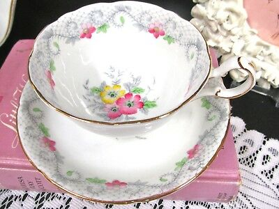 ROYAL GRAFTON tea cup and saucer Stratford pattern floral painted teacup