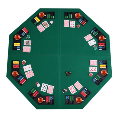 """8 Player Octagon Poker Card Table 48"""" Folding Top Texas Holdem Drink Chip Holder"""