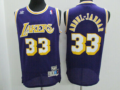 7bcae6e93b2 NEW Los Angeles Lakers 33 Kareem Abdul-Jabbar purple Swingman Basketball  jersey