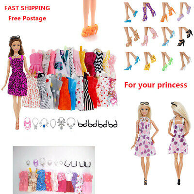Set For Barbie Doll Dresses Shoes Jewellery Clothes Set Doll Accessories Beauty
