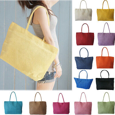 Fashion Beach Style Women Candy Color Zipper Large Capacity Straw Shoulder Bag