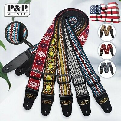 Vintage Woven Guitar Strap Embroidered Braid For Bass Electric Acoustic Guitar