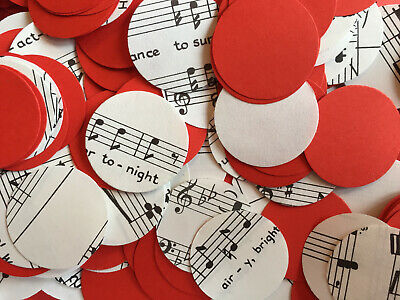 Vintage/Rustic Tea Party Circle Table Confetti - Sheet Music/Notes & Red Paper