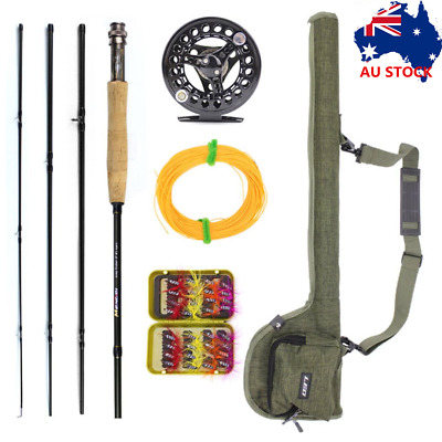 Portable Fly Fishing Rod Reel Combo Kit Spinning Fishing Gear w/Fly Fishing Line