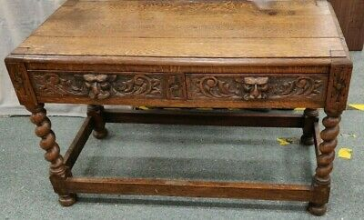 ANTIQUE Jacobean Style Carved Oak Lion Mask Green Man Gothic Console Table - C75