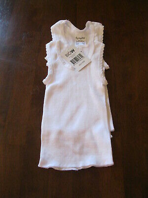 Dymples:Baby Singlets:Size 000 (To fit 3months):Colour White  x 3:New