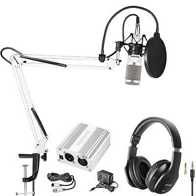 Monitor Headphones with Microphone and Phantom Power Supply Mic Stand Kit
