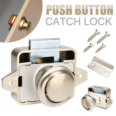 Push Lock Latch Knob Caravan Wohnmobil Boot Schublade Schrank Satin Nickel