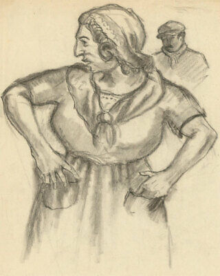 Mid 20th Century Charcoal Drawing - Portrait of an Expressive Woman