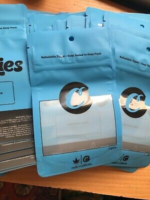 Cookies 7g ROUNDED CORNERS Mylar Bags. No foil backing.