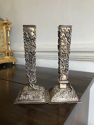 Antique 19 C Chinese Solid Silver Pair Of 3D Bird Flowers Vases By Tu Mao Xing
