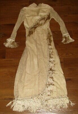 Antique 1920 Wedding Dress Ivory Silk Fringe Tassel Lace Silk