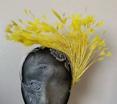 yellow feather headband fascinator millinery wedding hat bridal party ascot