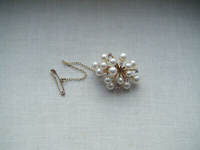 Vintage 14k yellow gold pearl and crystal starburst cluster brooch pin