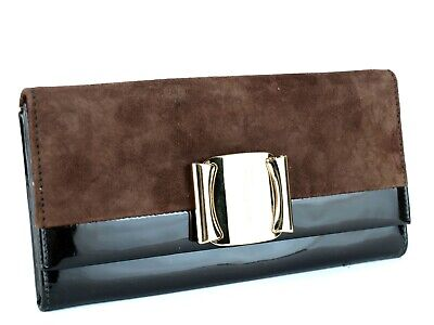 Auth Salvatore Ferragamo Vara Gold Tone Brown Suede, Patent Leather Long Wallet