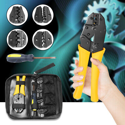 Insulated Terminals Electrical Crimping Plier Ratcheting Crimper Tool 5 Dies Set