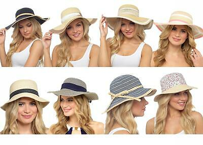 Womens Ladies Undercover Floppy Foldable Wide Brim Straw Beach Holiday Sun Hats