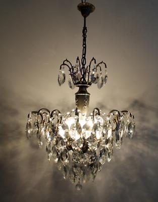 Antique Spider Style Cast Brass & Crystals Chandelier Lighting Ceiling Lamp 40's