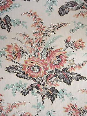Fabric Antique French floral material w/beautiful large scale design 1.38 yards