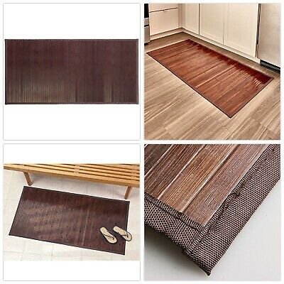 "Bamboo Floor Mat Bathroom Rug Wood Natural Mocha Non Skid Home Decor 24/"" x 48/"""