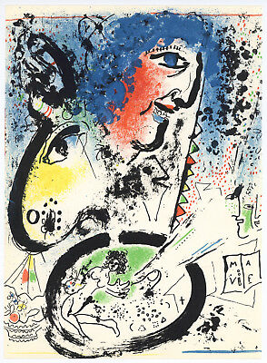 "1972 Vintage MARC CHAGALL /""SELF PORTRAIT WITH BRUSHES/"" COLOR offset Lithograph"