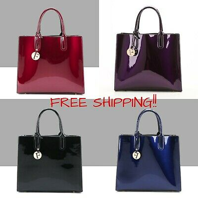 Bright Solid Patent Leather Women Fashion Bags  Ladies Casual  Luxury  Handbags