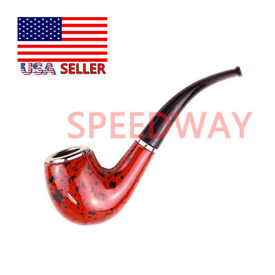 Dark Red Durable Wooden Wood Smoking Pipe Tobacco Classic Cigarettes Cigar Pipes