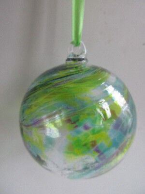 Glass Mouth Blown Spirit of Friendship Ball Palest Green Swirls 8cm Boxed Gift