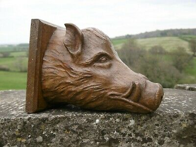 SUPERB 19thc BLACK FOREST OAK CARVED BOAR HEAD C.1870