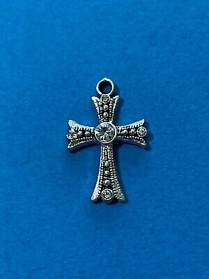 2 Beautiful Cross Charms with Clear Rhinestones Antique Silver Tone