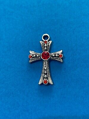 2 Beautiful Cross Charms with Red Rhinestones Antique Silver Tone