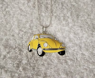 Unwanted CAR Inspired Large Charm NECKLACE Herbie Lovebug Yellow Beetle Gift Bag