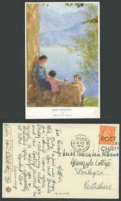 Margaret W Tarrant 1942 Old Postcard Happy Springtime of Life Woman Children Mts