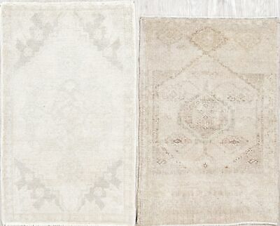 Pair of 2 Muted Vintage Oushak Turkish Oriental Hand Knotted Wool 2x3 Beige Rug