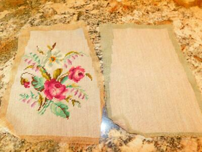 Vintage Completed NEEDLEPOINT CANVAS Tapestry Pink ROSES Front & Back 9.5 x 13""
