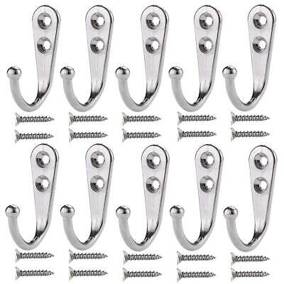 10Pcs Home Wall Mounted Single Metal Hooks Coat Clothes Hangers with 20Pcs Screw