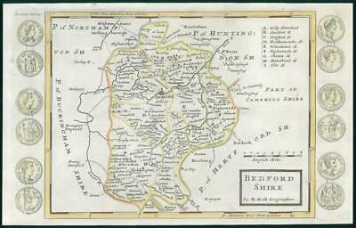 1733 - Rare Antique Map of BEDFORDSHIRE by Herman Moll hand coloured (20)