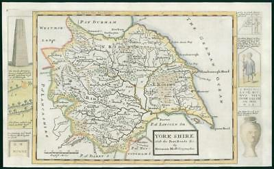 1733 - Rare Original Antique Map of YORKSHIRE by Herman Moll Hand Coloured (29)