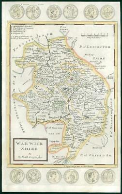 1733 Rare Original Antique Map of WARWICKSHIRE by Herman Moll hand coloured (5)