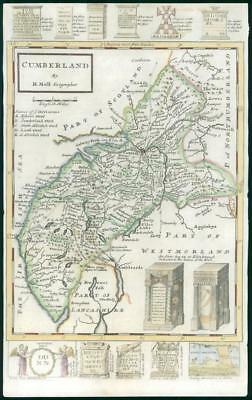 1733 - Rare Original Antique Map of CUMBERLAND by Herman Moll Hand Coloured (35)
