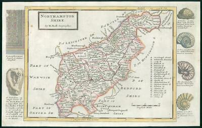 1733 - Rare Antique Map of NORTHAMPTONSHIRE by Herman Moll hand coloured (17)