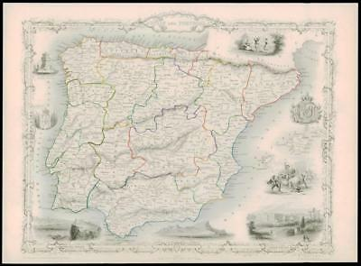 "1850 Original Illustrated Antique Map of ""SPAIN AND PORTUGAL"" by TALLIS  (191d)"