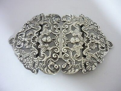 Large Antique Chester 1896 Sterling Silver Nurses Buckle By Stokes & Ireland